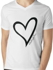 #BeARipple...Focus Black Heart on White Mens V-Neck T-Shirt