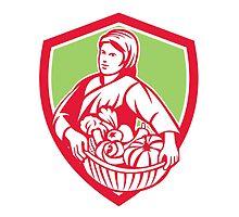 Female Organic Farmer Basket Harvest Shield Retro by patrimonio