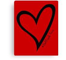 #BeARipple...Focus Black Heart on Red Canvas Print