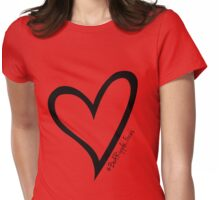 #BeARipple...Focus Black Heart on Red Womens Fitted T-Shirt