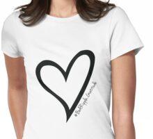 #BeARipple...GRATITUDE Black Heart on White Womens Fitted T-Shirt