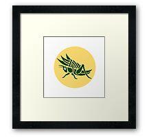 Grasshopper Carrying Basket Grass Blade Retro Framed Print