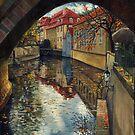 Prague Chertovka Reflection by Yuriy Shevchuk