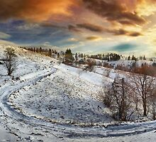 Countryside road at sunset, winter by naturalis