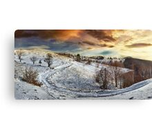 Countryside road at sunset, winter Canvas Print