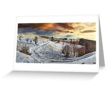 Countryside road at sunset, winter Greeting Card
