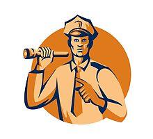 Policeman Flashlight Torch Pointing Retro by patrimonio