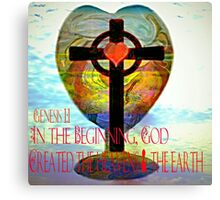 Genesis 1:1 (Art and Writing) Canvas Print