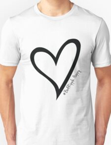 #BeARipple...Happy Black Heart on White T-Shirt