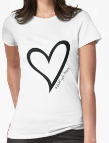 #BeARipple...Happy Black Heart on White T-Shirt