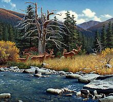 The Wu Shan Fairy Series Deer By River by Ze Zhao