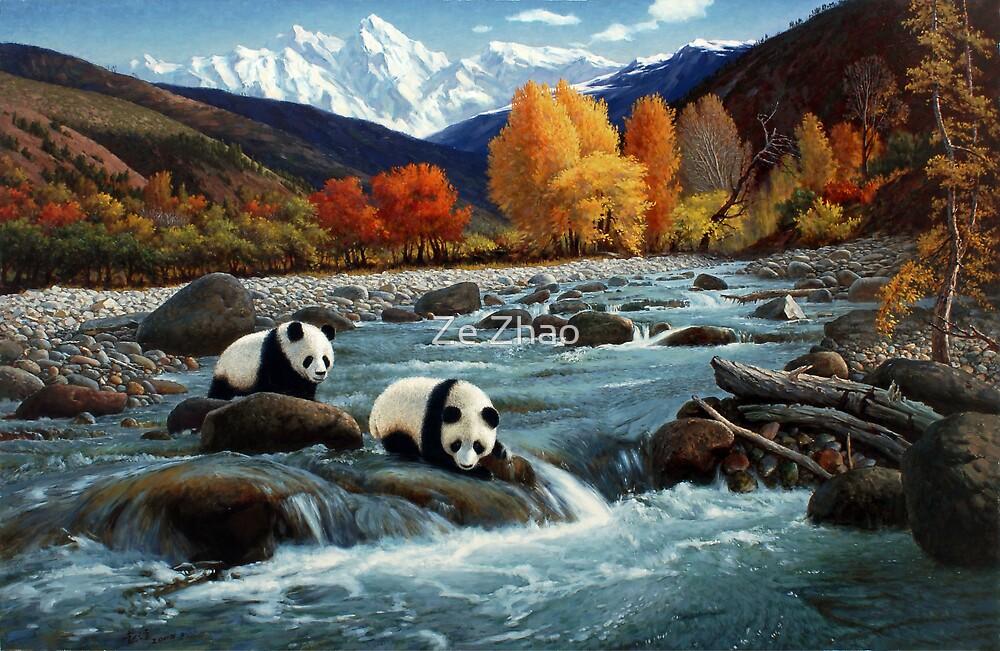 The Wu Shan Fairy Series Pandas Crossing River by Ze Zhao