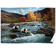 The Wu Shan Fairy Series Pandas Crossing River Poster
