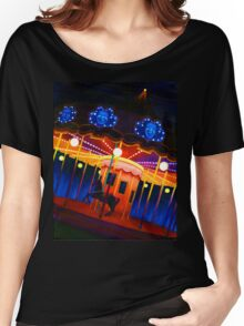 Carousel , Oil Painting bright night carnival creepy scene , Illustration Art Print  Women's Relaxed Fit T-Shirt