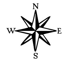 Compass Rose (monochrome) Photographic Print