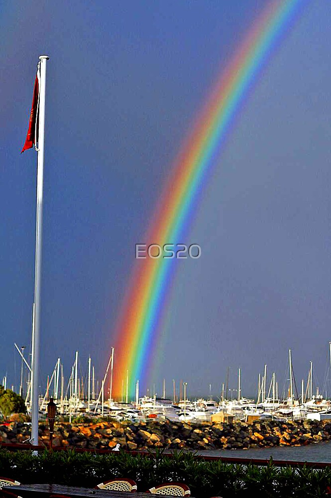 Rainbow over boat harbour  by EOS20