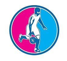 Basketball Player Dribbling Ball Circle Retro by patrimonio