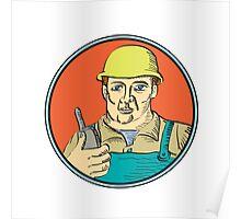 Builder Carpenter Holding Radio Phone Circle Retro Poster