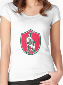 Rugby Lineout Catch Shield Women's Fitted Scoop T-Shirt