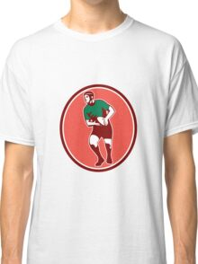 Rugby Player Running Passing Ball Retro Classic T-Shirt