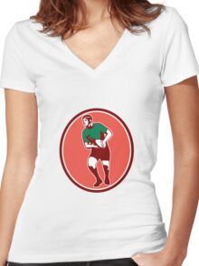 Rugby Player Running Passing Ball Retro Women's Fitted V-Neck T-Shirt