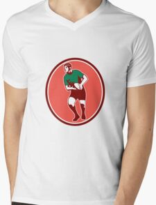 Rugby Player Running Passing Ball Retro Mens V-Neck T-Shirt
