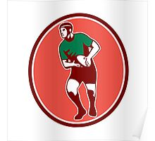 Rugby Player Running Passing Ball Retro Poster