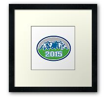 Rugby Scrum 2015 Oval Framed Print