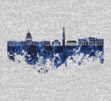 Washington DC skyline in blue watercolor on white background  Kids Clothes
