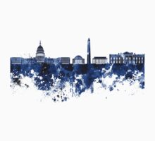 Washington DC skyline in blue watercolor on white background  One Piece - Long Sleeve