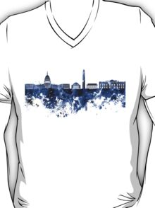 Washington DC skyline in blue watercolor on white background  T-Shirt