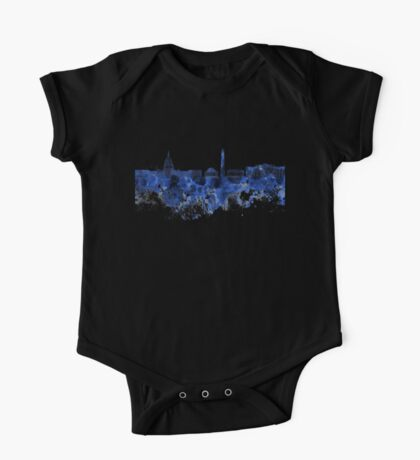 Washington DC skyline in blue watercolor on white background  One Piece - Short Sleeve