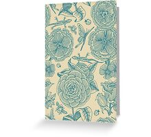 Garden Bliss - teal & cream  Greeting Card