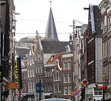 Crowded street Amsterdam by christinawalker