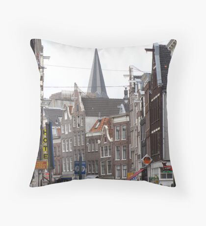 Crowded street Amsterdam Throw Pillow