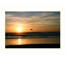 Gliding through the sunset Art Print