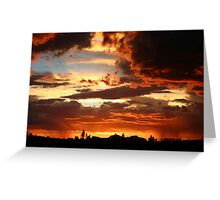 Stormy sunset skies over the desert Greeting Card