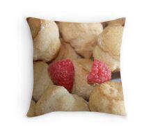 Raspberry Creme Puffs Throw Pillow