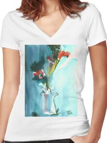 Flowers in Vase Women's Fitted V-Neck T-Shirt