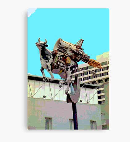 Cow with Rocket Strapped to Its' Back 2 Canvas Print