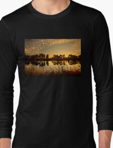 Sunset at Kaiafas lake Long Sleeve T-Shirt