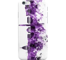 Washington DC skyline in purple watercolor on white background  iPhone Case/Skin