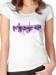 Washington DC skyline in purple watercolor on white background  Women's Fitted Scoop T-Shirt