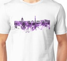 Washington DC skyline in purple watercolor on white background  Unisex T-Shirt