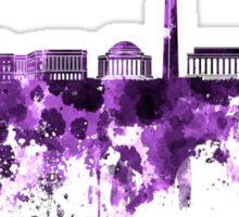 Washington DC skyline in purple watercolor on white background  Sticker