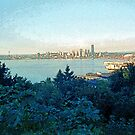 Painterly Seattle Skyline 2 by SteveOhlsen
