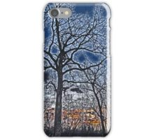 Sunset Beyond The Bare Trees High Contrast Paintography iPhone Case/Skin