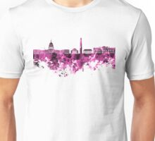 Washington DC skyline in pink watercolor on white background  Unisex T-Shirt