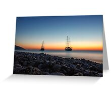 Two boats at twilight Greeting Card