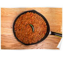 Black Pan of Chili with Jalapeno on Wood Poster